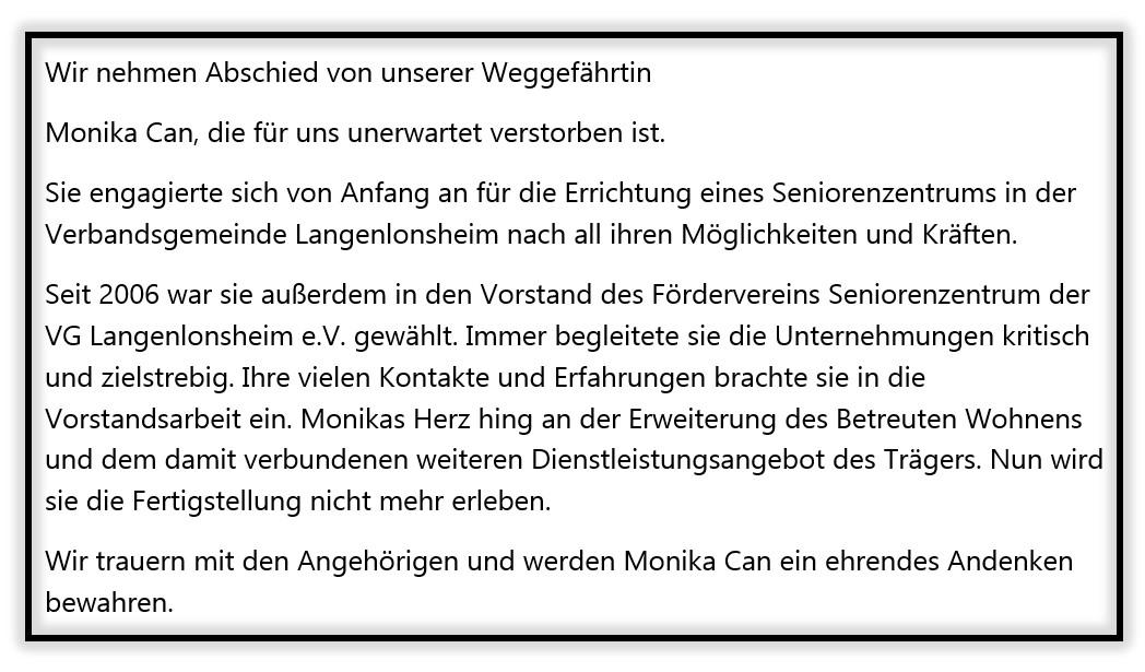 Abschied Monika Can, verstorben im Januar 2021