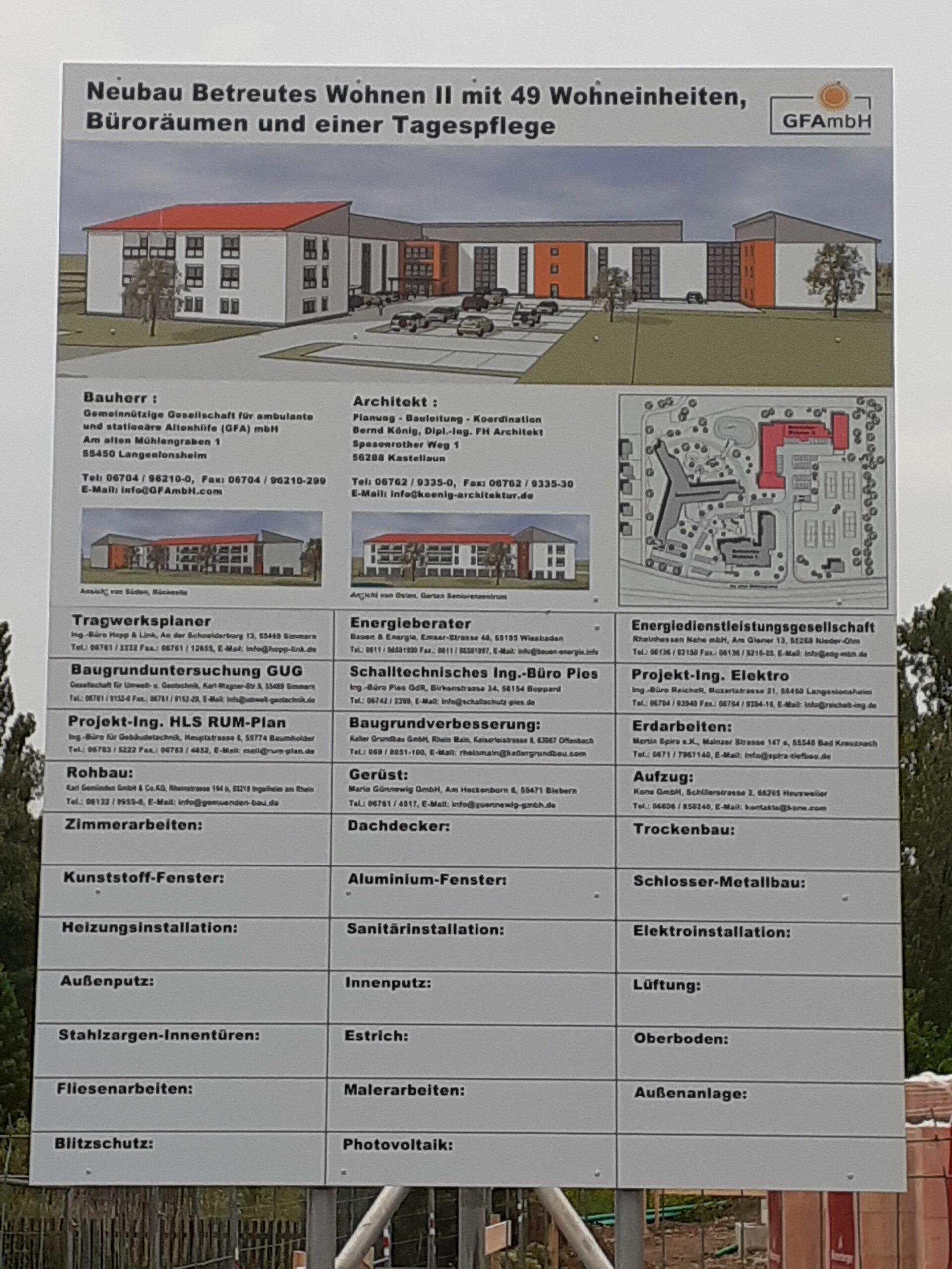 Info-Tafel zum Neubau
